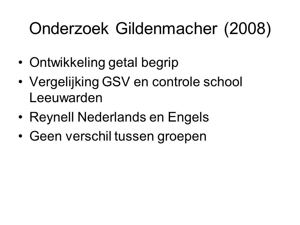 Onderzoek Gildenmacher (2008) Ontwikkeling getal begrip Vergelijking GSV en controle school Leeuwarden Reynell Nederlands en Engels Geen verschil tussen groepen