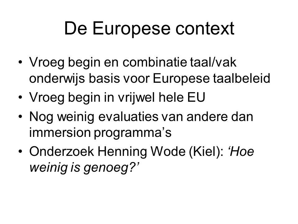 De Europese context Vroeg begin en combinatie taal/vak onderwijs basis voor Europese taalbeleid Vroeg begin in vrijwel hele EU Nog weinig evaluaties van andere dan immersion programma's Onderzoek Henning Wode (Kiel): 'Hoe weinig is genoeg '