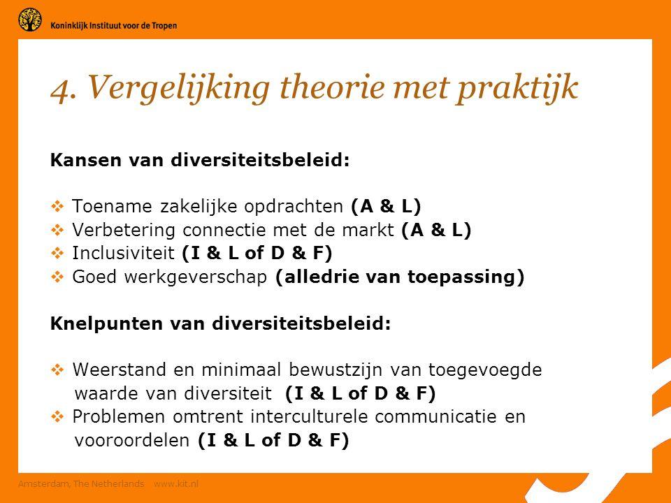 4. Vergelijking theorie met praktijk Kansen van diversiteitsbeleid:  Toename zakelijke opdrachten (A & L)  Verbetering connectie met de markt (A & L