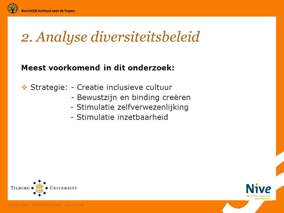 Meest voorkomend in dit onderzoek:  Strategie: - Creatie inclusieve cultuur - Bewustzijn en binding creëren - Stimulatie zelfverwezenlijking - Stimulatie inzetbaarheid Amsterdam, The Netherlands www.kit.nl