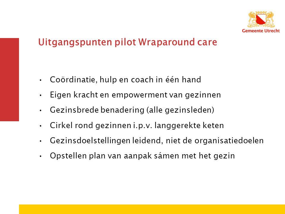 Uitgangspunten pilot Wraparound care Coördinatie, hulp en coach in één hand Eigen kracht en empowerment van gezinnen Gezinsbrede benadering (alle gezinsleden) Cirkel rond gezinnen i.p.v.