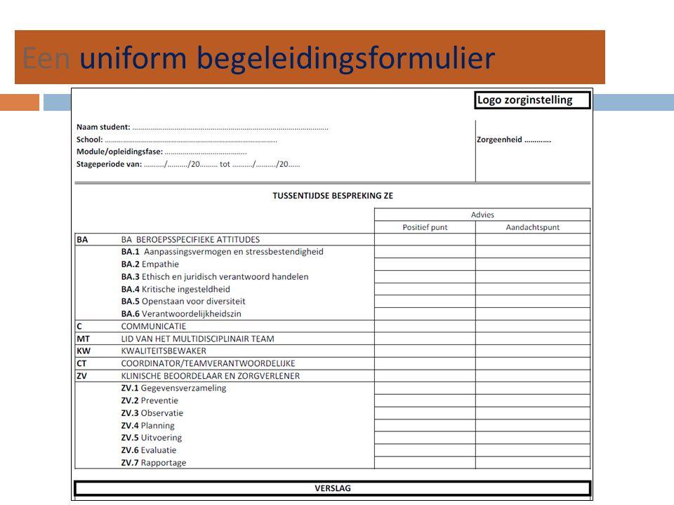 Een uniform begeleidingsformulier