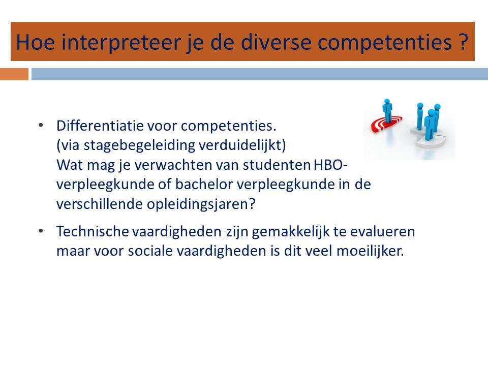 Hoe interpreteer je de diverse competenties . Differentiatie voor competenties.