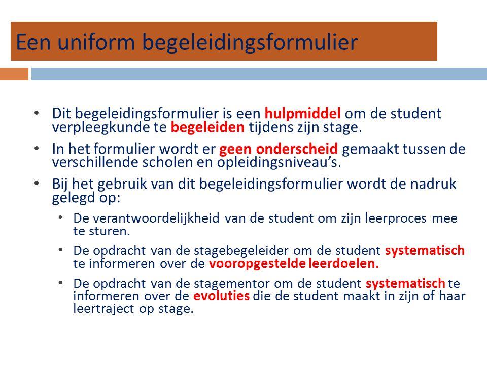 Een uniform begeleidingsformulier Dit begeleidingsformulier is een hulpmiddel om de student verpleegkunde te begeleiden tijdens zijn stage.
