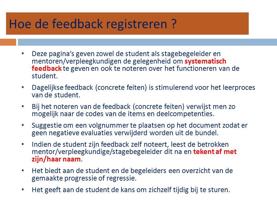 Hoe de feedback registreren ? Deze pagina's geven zowel de student als stagebegeleider en mentoren/verpleegkundigen de gelegenheid om systematisch fee