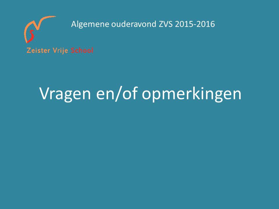 Vragen en/of opmerkingen Algemene ouderavond ZVS 2015-2016