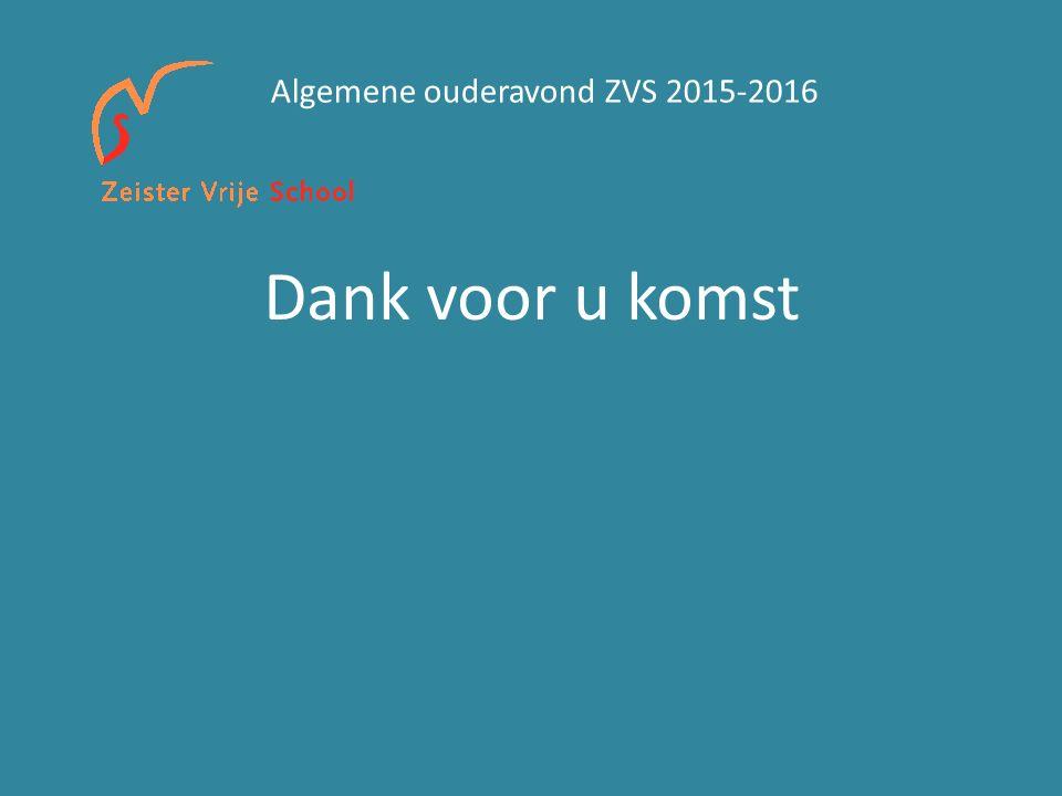 Dank voor u komst Algemene ouderavond ZVS 2015-2016