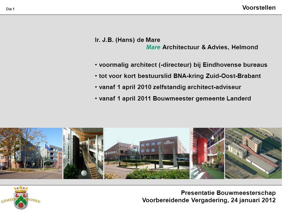Voorstellen Ir. J.B. (Hans) de Mare Mare Architectuur & Advies, Helmond voormalig architect (-directeur) bij Eindhovense bureaus tot voor kort bestuur