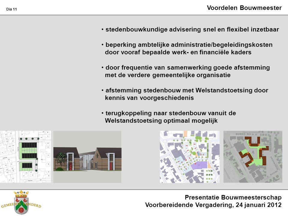 Voordelen Bouwmeester stedenbouwkundige advisering snel en flexibel inzetbaar beperking ambtelijke administratie/begeleidingskosten door vooraf bepaal