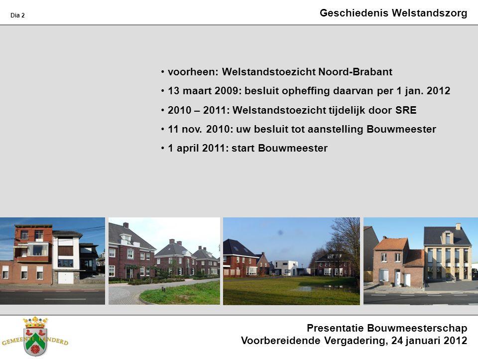 Geschiedenis Welstandszorg voorheen: Welstandstoezicht Noord-Brabant 13 maart 2009: besluit opheffing daarvan per 1 jan. 2012 2010 – 2011: Welstandsto