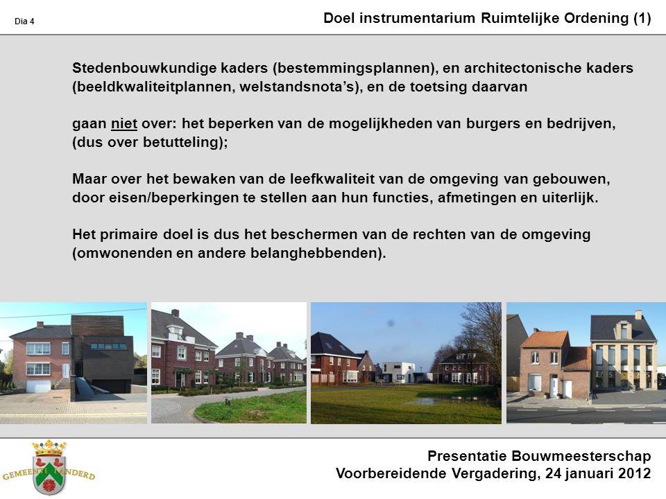 Doel instrumentarium Ruimtelijke Ordening (1) Stedenbouwkundige kaders (bestemmingsplannen), en architectonische kaders (beeldkwaliteitplannen, welsta