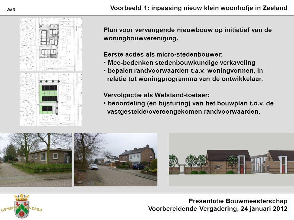 Voorbeeld 1: inpassing nieuw klein woonhofje in Zeeland Plan voor vervangende nieuwbouw op initiatief van de woningbouwvereniging. Eerste acties als m