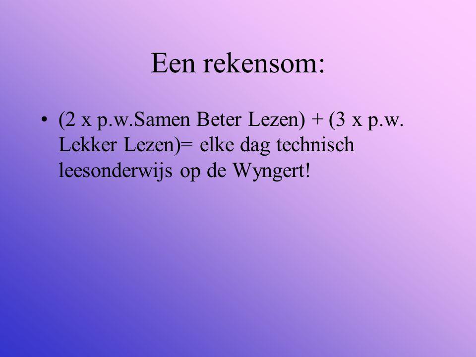 Een rekensom: (2 x p.w.Samen Beter Lezen) + (3 x p.w. Lekker Lezen)= elke dag technisch leesonderwijs op de Wyngert!