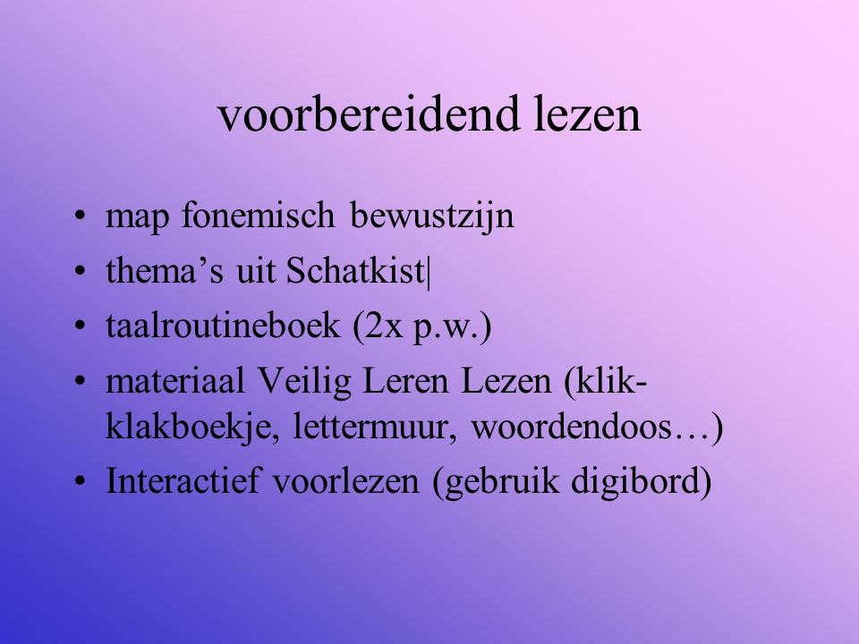 voorbereidend lezen map fonemisch bewustzijn thema's uit Schatkist| taalroutineboek (2x p.w.) materiaal Veilig Leren Lezen (klik- klakboekje, lettermu