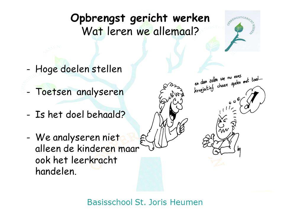Basisschool St. Joris Heumen Opbrengst gericht werken Wat leren we allemaal? -Hoge doelen stellen -Toetsen analyseren -Is het doel behaald? -We analys
