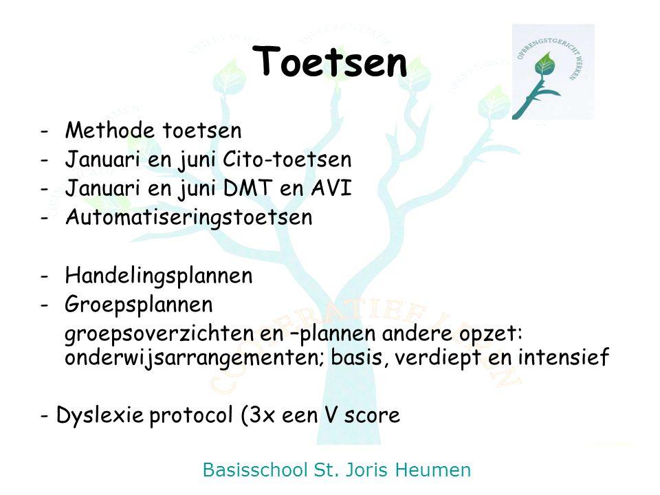 Basisschool St. Joris Heumen Toetsen -Methode toetsen -Januari en juni Cito-toetsen -Januari en juni DMT en AVI -Automatiseringstoetsen -Handelingspla
