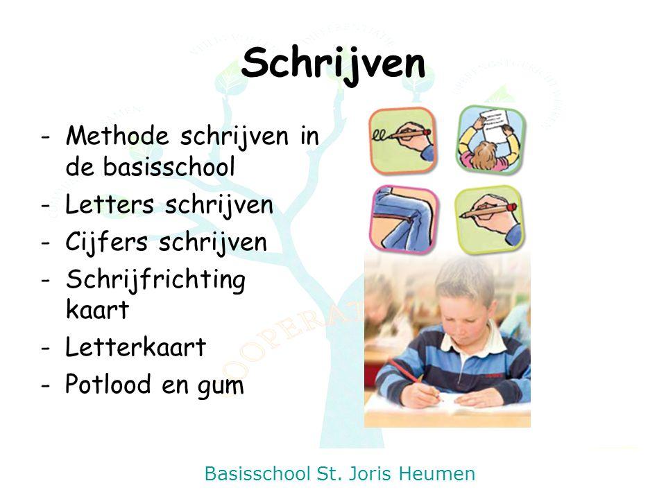 Basisschool St. Joris Heumen Schrijven -Methode schrijven in de basisschool -Letters schrijven -Cijfers schrijven -Schrijfrichting kaart -Letterkaart