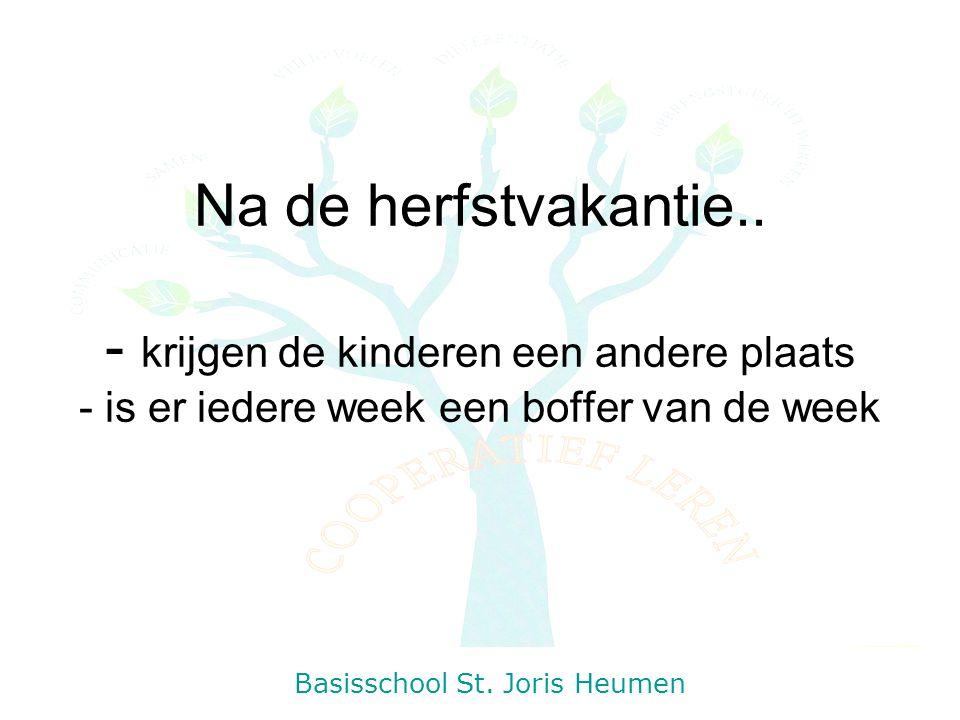 Na de herfstvakantie.. - krijgen de kinderen een andere plaats - is er iedere week een boffer van de week Basisschool St. Joris Heumen