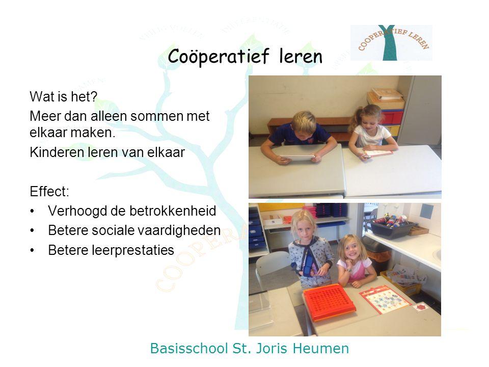 Coöperatief leren Wat is het? Meer dan alleen sommen met elkaar maken. Kinderen leren van elkaar Effect: Verhoogd de betrokkenheid Betere sociale vaar