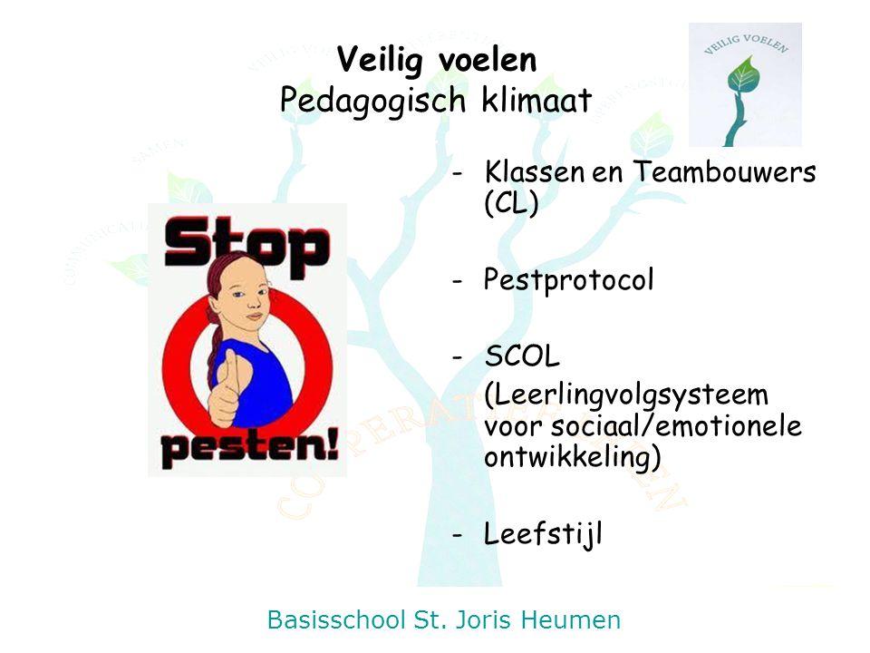 Basisschool St. Joris Heumen Veilig voelen Pedagogisch klimaat -Klassen en Teambouwers (CL) -Pestprotocol -SCOL (Leerlingvolgsysteem voor sociaal/emot