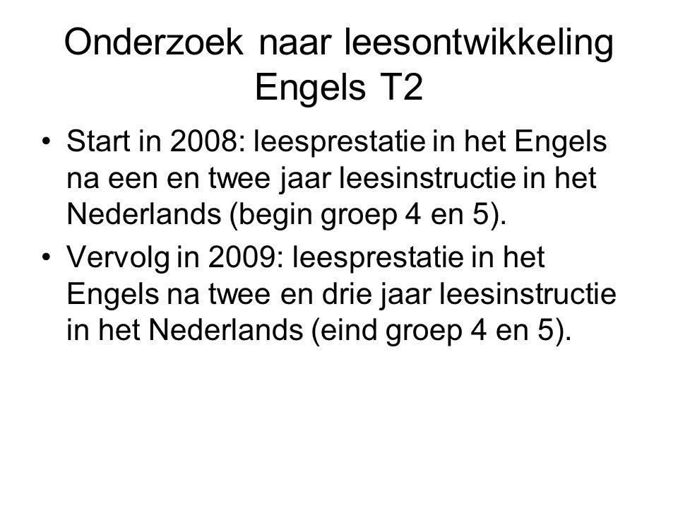 Onderzoek naar leesontwikkeling Engels T2 Start in 2008: leesprestatie in het Engels na een en twee jaar leesinstructie in het Nederlands (begin groep 4 en 5).