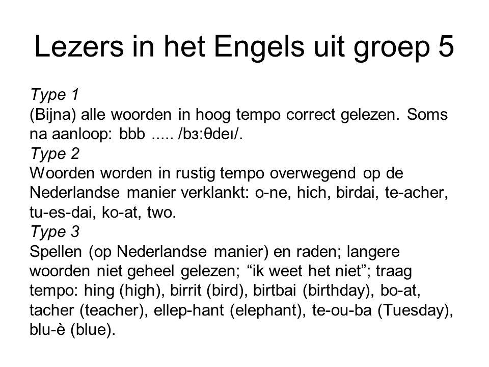 Lezers in het Engels uit groep 5 Type 1 (Bijna) alle woorden in hoog tempo correct gelezen.