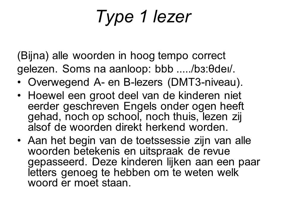 Type 1 lezer (Bijna) alle woorden in hoog tempo correct gelezen.
