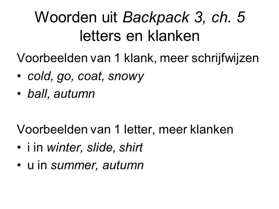 Woorden uit Backpack 3, ch.