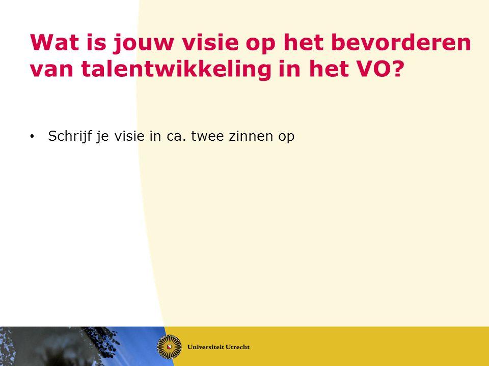 Wat is jouw visie op het bevorderen van talentwikkeling in het VO.