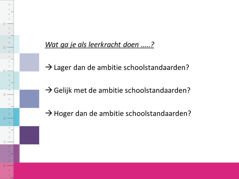 Wat ga je als leerkracht doen …...  Lager dan de ambitie schoolstandaarden.