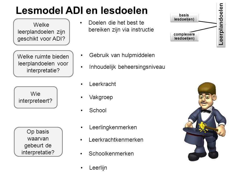 Lesmodel ADI en lesdoelen Leerplandoelen basis lesdoel(en) complexere lesdoel(en) Welke ruimte bieden leerplandoelen voor interpretatie.