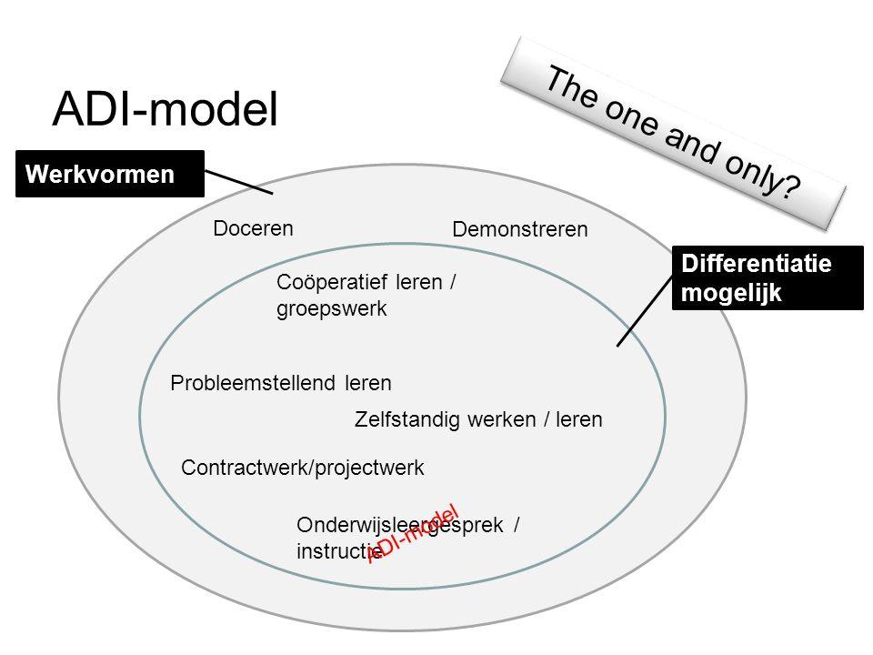 ADI-model The one and only? Zelfstandig werken / leren Werkvormen Differentiatie mogelijk