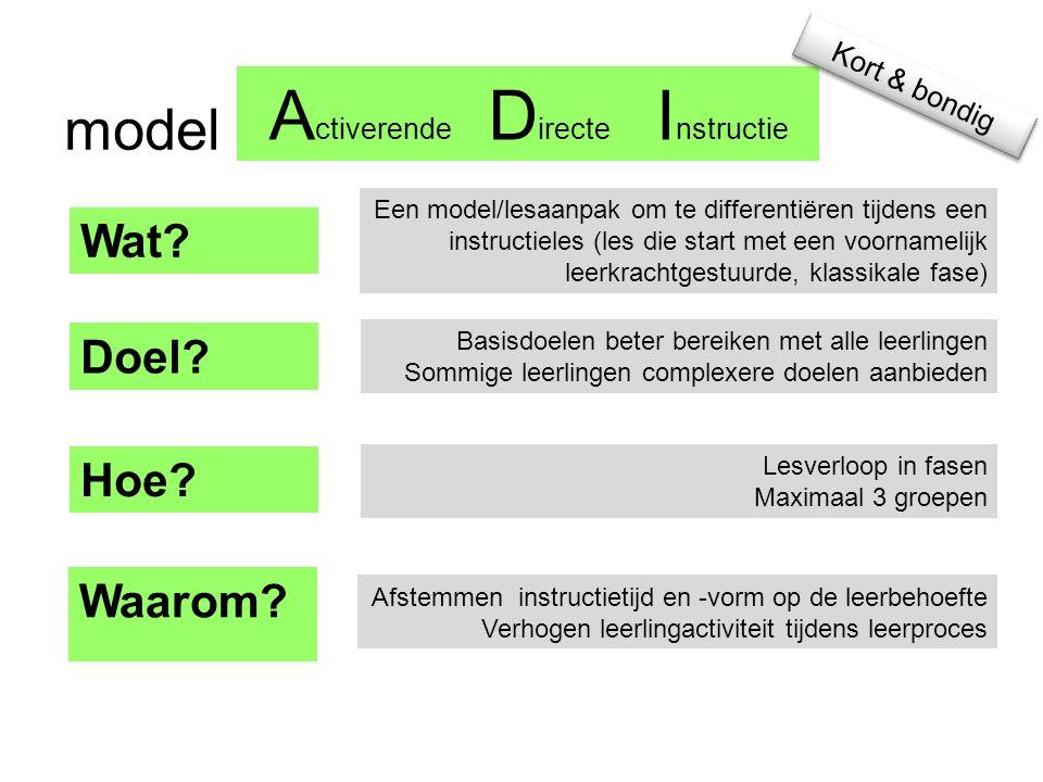 A ctiverende D irecte I nstructie model Wat.