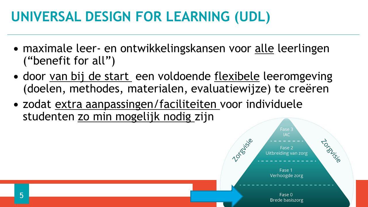 maximale leer- en ontwikkelingskansen voor alle leerlingen ( benefit for all ) door van bij de start een voldoende flexibele leeromgeving (doelen, methodes, materialen, evaluatiewijze) te creëren zodat extra aanpassingen/faciliteiten voor individuele studenten zo min mogelijk nodig zijn UNIVERSAL DESIGN FOR LEARNING (UDL) 5