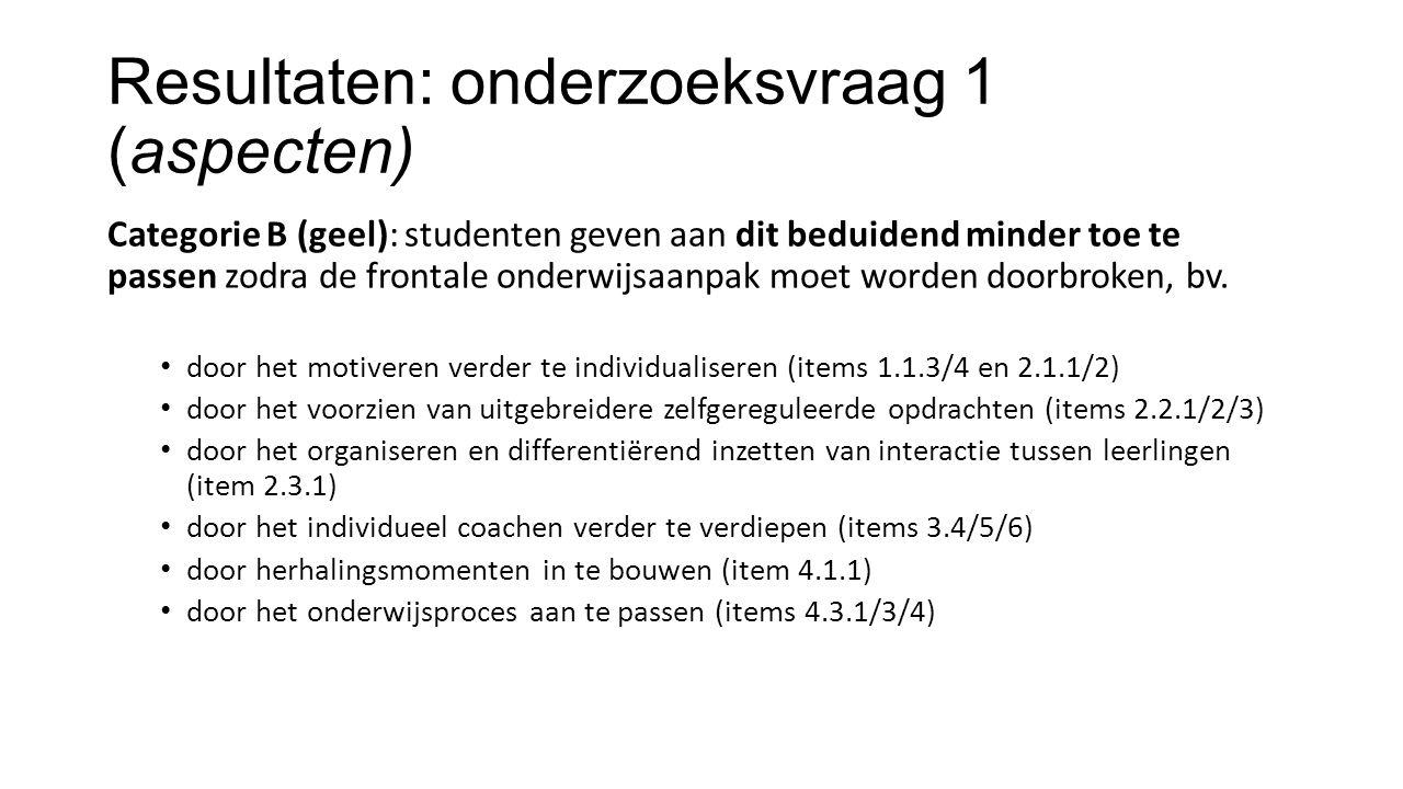 Resultaten: onderzoeksvraag 1 (aspecten) Categorie B (geel): studenten geven aan dit beduidend minder toe te passen zodra de frontale onderwijsaanpak moet worden doorbroken, bv.