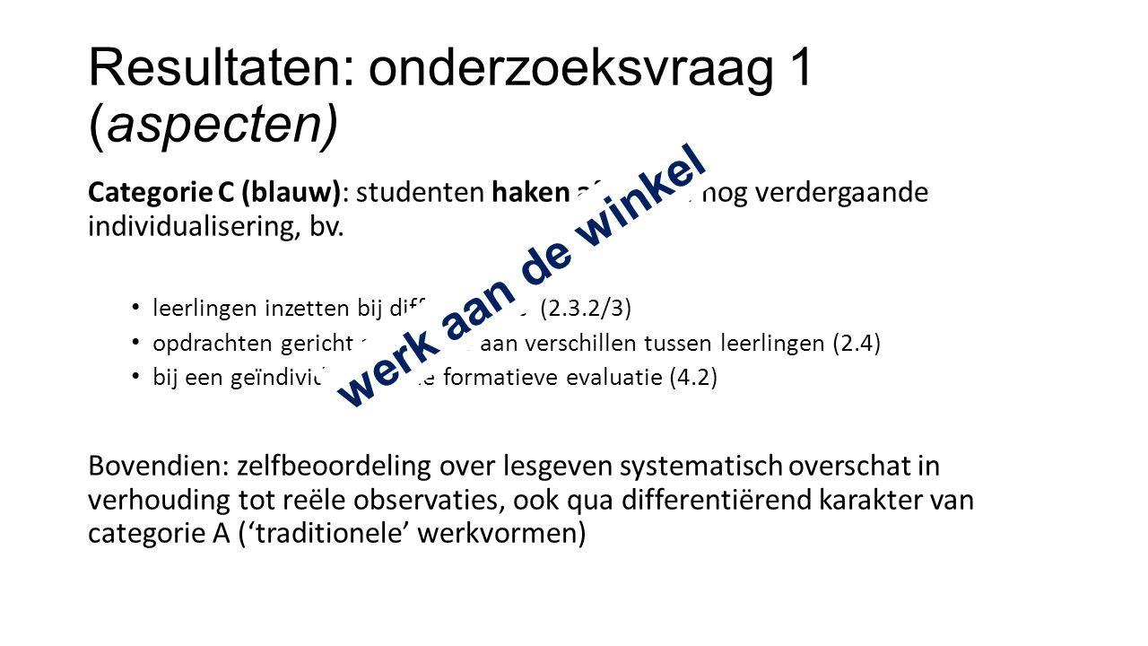 Resultaten: onderzoeksvraag 1 (aspecten) Categorie C (blauw): studenten haken af bij een nog verdergaande individualisering, bv.