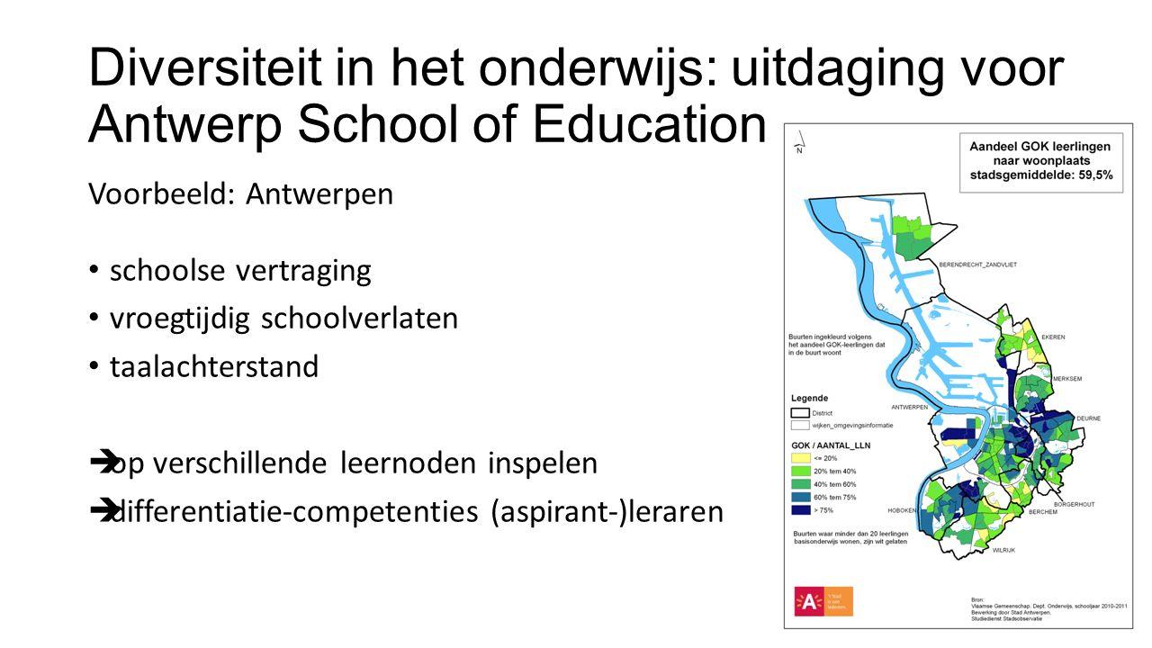 Diversiteit in het onderwijs: uitdaging voor Antwerp School of Education Voorbeeld: Antwerpen schoolse vertraging vroegtijdig schoolverlaten taalachterstand  op verschillende leernoden inspelen  differentiatie-competenties (aspirant-)leraren