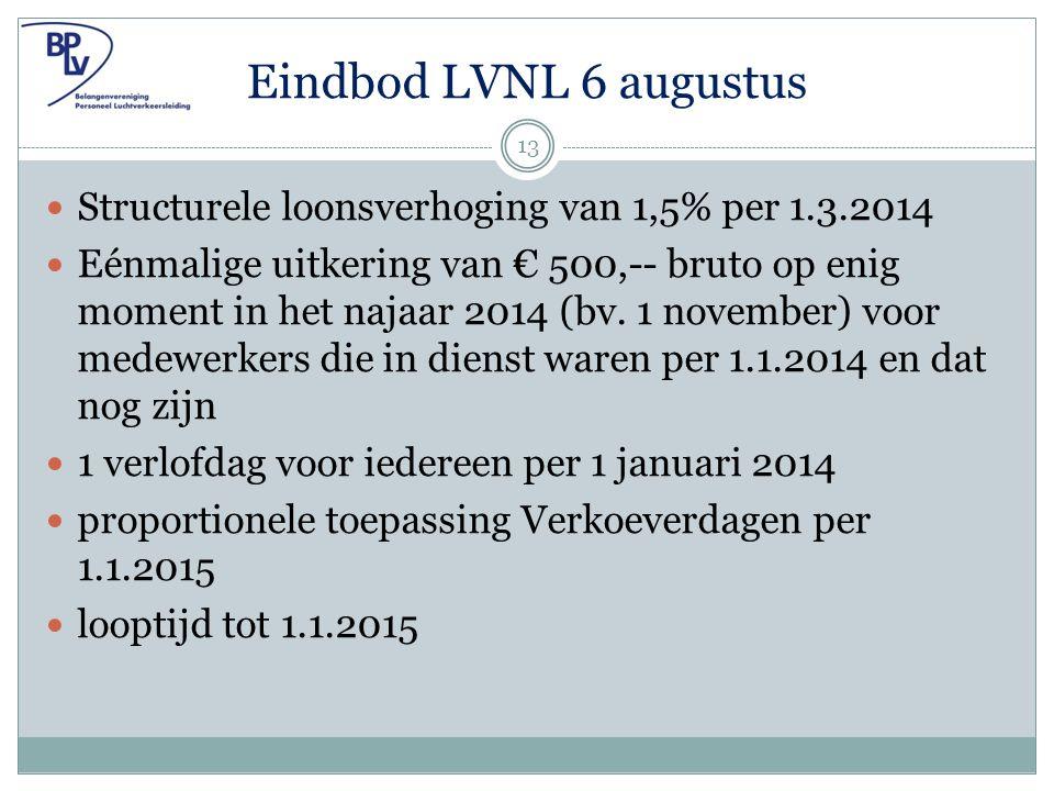 Eindbod LVNL 6 augustus Structurele loonsverhoging van 1,5% per 1.3.2014 Eénmalige uitkering van € 500,-- bruto op enig moment in het najaar 2014 (bv.