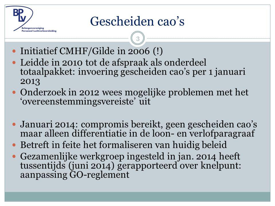 Gescheiden cao's Initiatief CMHF/Gilde in 2006 (!) Leidde in 2010 tot de afspraak als onderdeel totaalpakket: invoering gescheiden cao's per 1 januari 2013 Onderzoek in 2012 wees mogelijke problemen met het 'overeenstemmingsvereiste' uit Januari 2014: compromis bereikt, geen gescheiden cao's maar alleen differentiatie in de loon- en verlofparagraaf Betreft in feite het formaliseren van huidig beleid Gezamenlijke werkgroep ingesteld in jan.