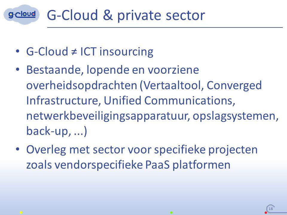 G-Cloud & private sector 18 G-Cloud ≠ ICT insourcing Bestaande, lopende en voorziene overheidsopdrachten (Vertaaltool, Converged Infrastructure, Unifi