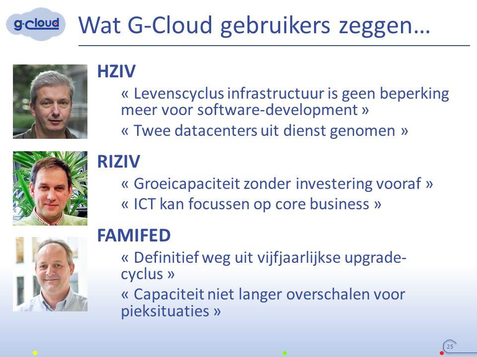Wat G-Cloud gebruikers zeggen… HZIV « Levenscyclus infrastructuur is geen beperking meer voor software-development » « Twee datacenters uit dienst gen