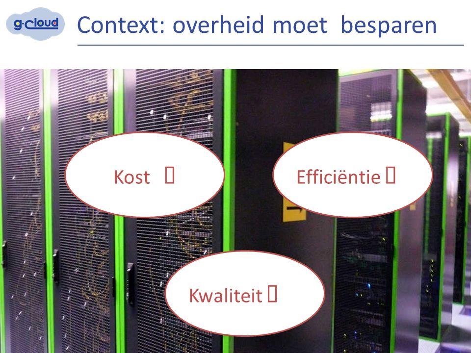 Context: overheid moet besparen 3 Efficiëntie  Kost  Kwaliteit 