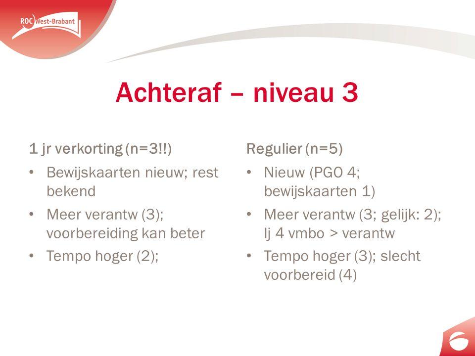 Achteraf – niveau 3 1 jr verkorting (n=3!!) Bewijskaarten nieuw; rest bekend Meer verantw (3); voorbereiding kan beter Tempo hoger (2); Regulier (n=5) Nieuw (PGO 4; bewijskaarten 1) Meer verantw (3; gelijk: 2); lj 4 vmbo > verantw Tempo hoger (3); slecht voorbereid (4)
