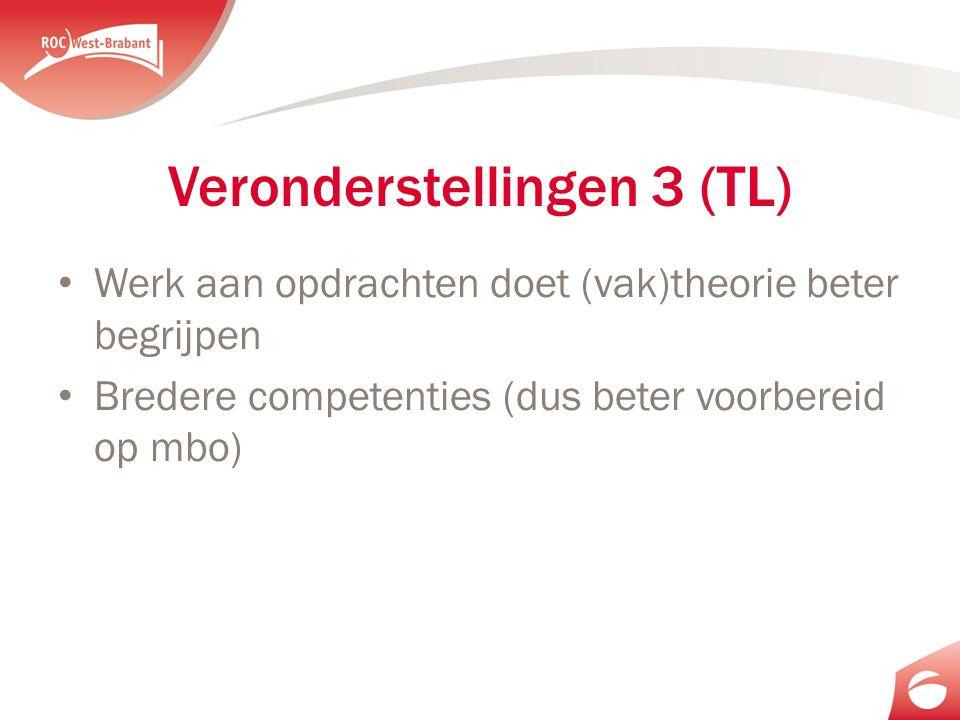 Veronderstellingen 3 (TL) Werk aan opdrachten doet (vak)theorie beter begrijpen Bredere competenties (dus beter voorbereid op mbo)