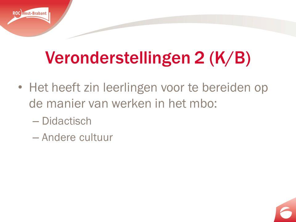 Veronderstellingen 2 (K/B) Het heeft zin leerlingen voor te bereiden op de manier van werken in het mbo: – Didactisch – Andere cultuur