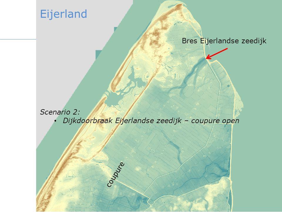 Bres Eijerlandse zeedijk Scenario 2: Dijkdoorbraak Eijerlandse zeedijk – coupure open coupure Eijerland