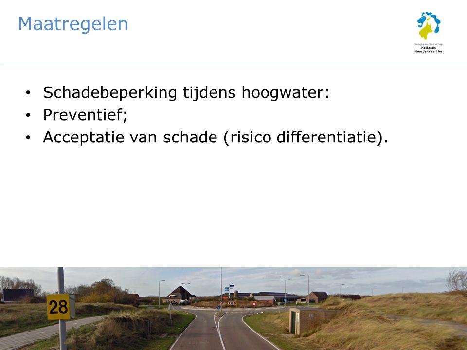 Maatregelen Schadebeperking tijdens hoogwater: Preventief; Acceptatie van schade (risico differentiatie).