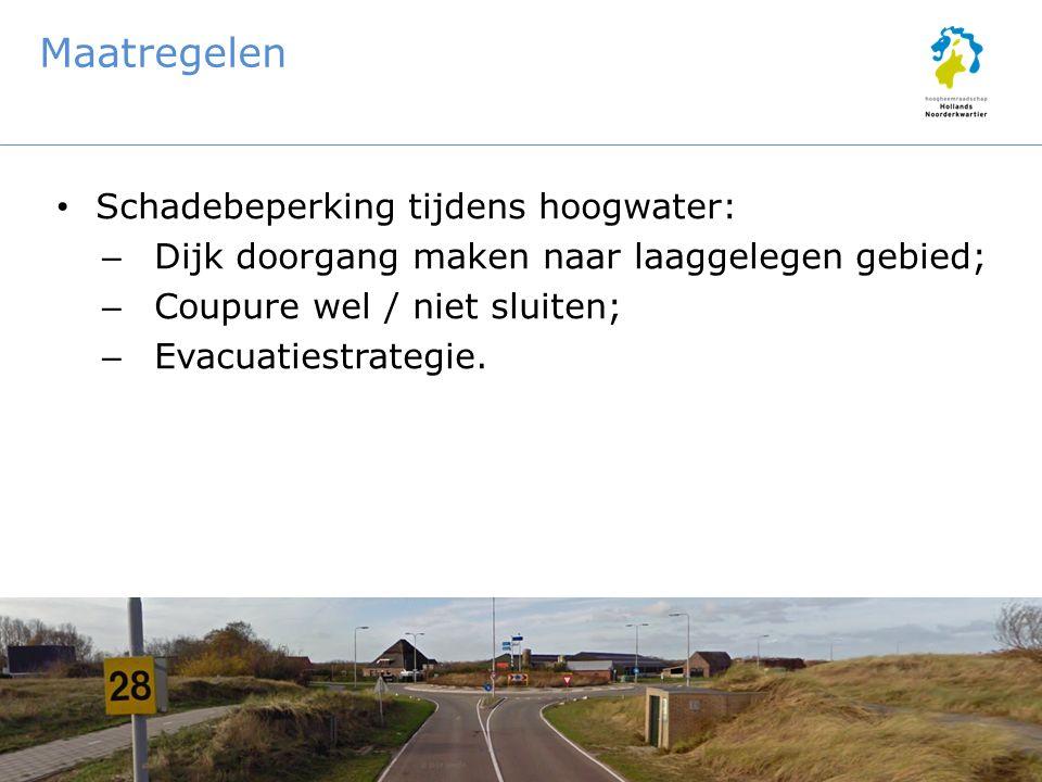 Maatregelen Schadebeperking tijdens hoogwater: – Dijk doorgang maken naar laaggelegen gebied; – Coupure wel / niet sluiten; – Evacuatiestrategie.
