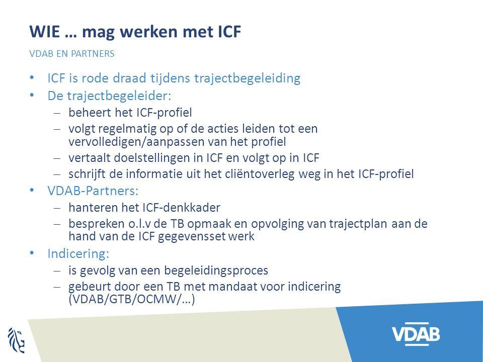WIE … mag werken met ICF ICF is rode draad tijdens trajectbegeleiding De trajectbegeleider:  beheert het ICF-profiel  volgt regelmatig op of de acties leiden tot een vervolledigen/aanpassen van het profiel  vertaalt doelstellingen in ICF en volgt op in ICF  schrijft de informatie uit het cliëntoverleg weg in het ICF-profiel VDAB-Partners:  hanteren het ICF-denkkader  bespreken o.l.v de TB opmaak en opvolging van trajectplan aan de hand van de ICF gegevensset werk Indicering:  is gevolg van een begeleidingsproces  gebeurt door een TB met mandaat voor indicering (VDAB/GTB/OCMW/…) VDAB EN PARTNERS