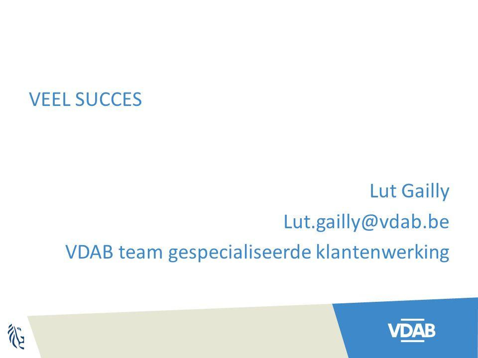 VEEL SUCCES Lut Gailly Lut.gailly@vdab.be VDAB team gespecialiseerde klantenwerking